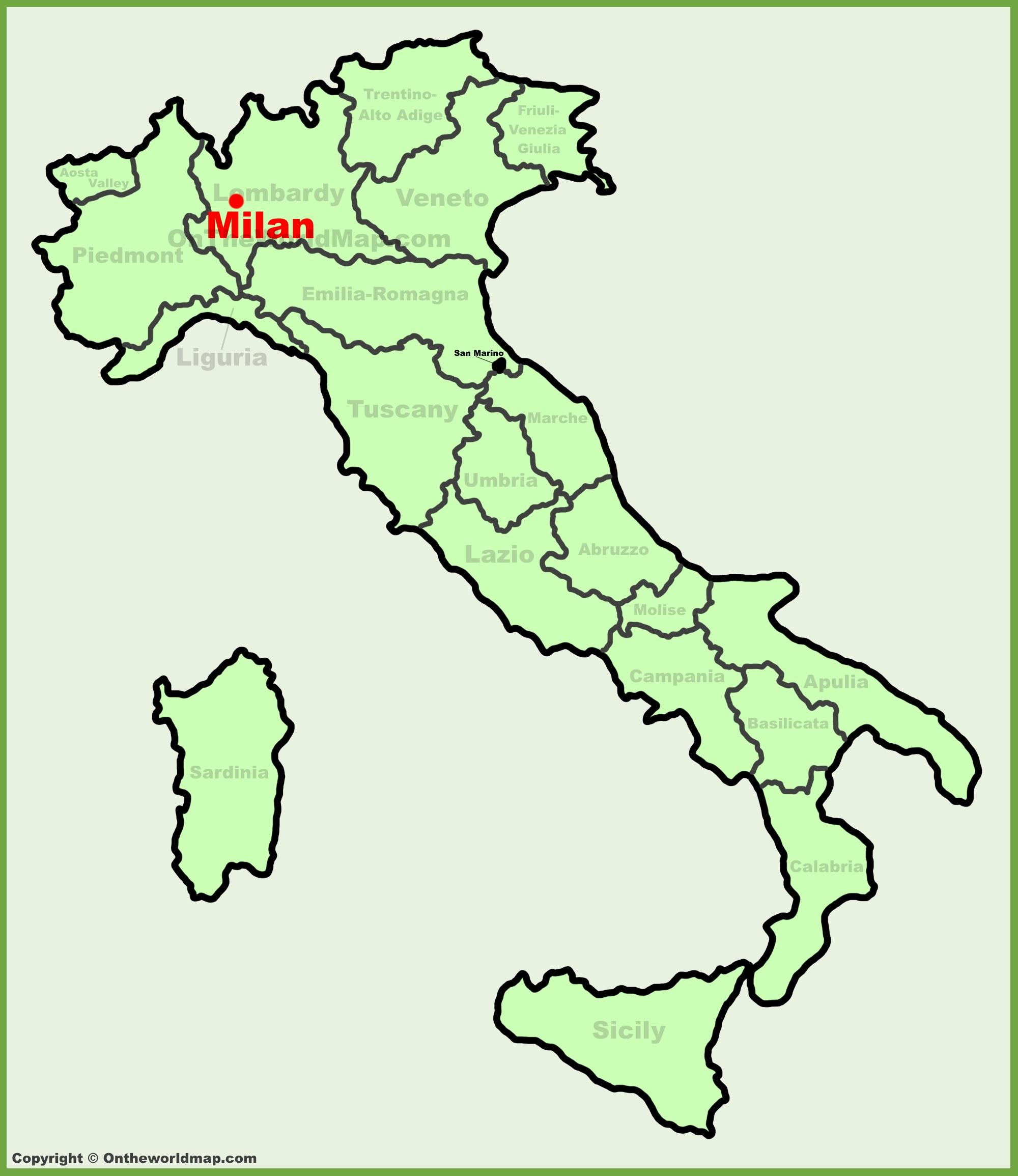 Milano I Italien Karta Karta Over Italien Visar Milano